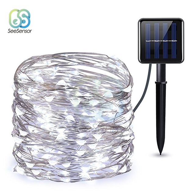LED Outdoor Solar Lamp String Light Fairy Holiday Christmas Lights 12m 100LED Copper Wire Wedding Party Decor Lamp Garland