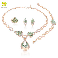Bridal Wedding Jewelry Set Crystal Necklace Earrings Bracelet Ring Set Classic Leaf Type for Women Wedding Jewelry Set wedding bridal pearl jewelry set women fashion crystal leaf pendant necklace earrings set