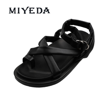 MIYEDA Womens Sandals Open Toe Summer Comfortable Cross Tied Buckle Trap Cool Female Shoes Modern Style Soft Women Flats