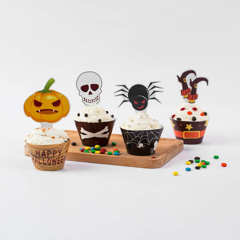 Image 4 - Halloween Muffins Cupcake Paper Cups Cake Decorating Tools Cupcake Liner&Cake Topper Baking Tools Cake Wrappers Paper Cup-in Cake Decorating Supplies from Home & Garden