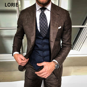 LORIE Business Suits for Men Tuxedo 3Piece Slim Fit Terno Masculino Man Groomsmen Blazers Plus Size Prom Party Bridegroom Outfit