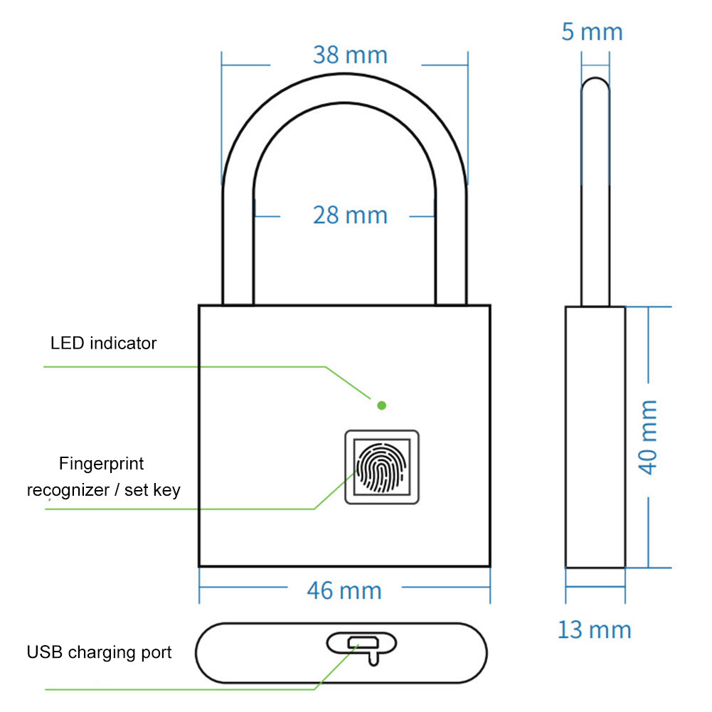 Купить с кэшбэком Portable Smart Keyless Fingerprint Lock Anti-theft Padlock for Drawer Suitcase Family Essential