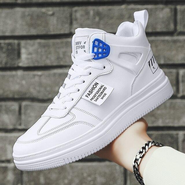 Zapatos informales de alta calidad para hombre, zapatillas de deporte masculinas de estilo Casual, zapatos de cuero sintético para mantener el calor, antideslizantes, 7, Otoño, novedad de 2021 3