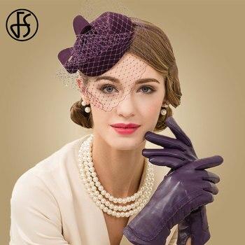 FS 100% Wool Pillbox Hat With Veil Fascinator Purple Hats For Women Fedora Hat Derby Ladies Church Wedding Hats hat for women 100