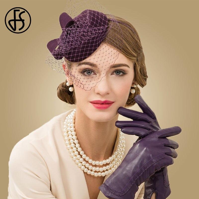 FS 100% Wool Pillbox JHat With Veil Fascinator Hats For Women Purple Fedora Ladies Church Wedding Hats