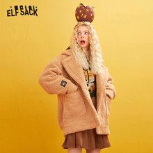 ELFSACK Pink Solid Fox Applique Teddy Lazy Wool Coats Women 2019 Winter Khaki Korean Style Long Sleeve Warmness Female Outwears