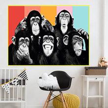 Живопись на холсте обезьяны современный стиль украшение для