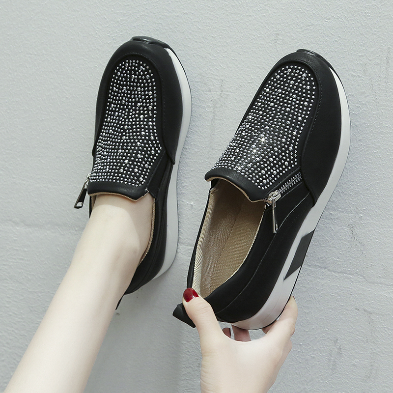 Flat Shoes Women 2020 Spring Bling Loafers with Crystal Women Shoes Casual Round Toe Zip Flat Shoe Platform Plus Size