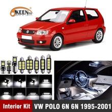 7 шт. для Volkswagen VW POLO 6N 6N2 1995-2001 светодиодный светильник для интерьера, лампочка, комплект Canbus, карта, купол, светильник для номерного знака, автомобильные аксессуары