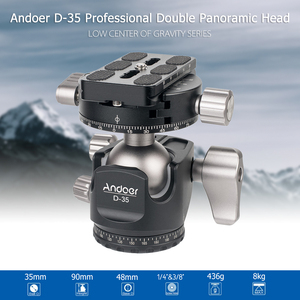 Image 3 - Andoer D 35 for Canon Nikon Sony DSLR Load 8kg Low Profile Double Panoramic Head CNC Machining Aluminum Alloy Ball Head Tripod