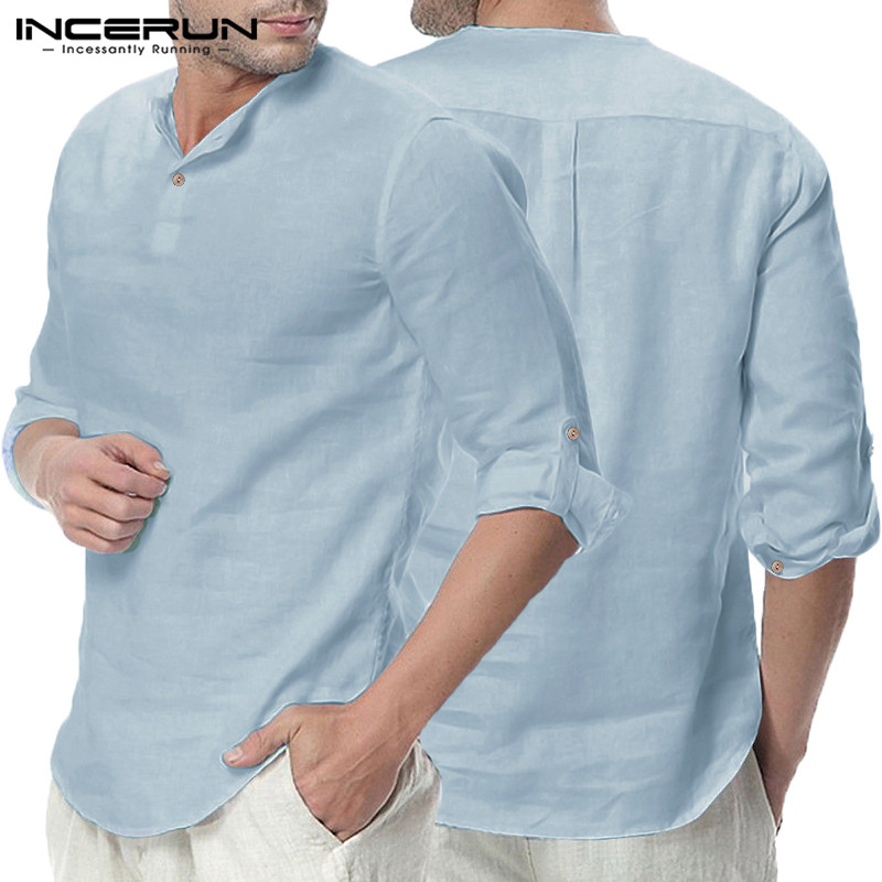 Plain Tee 5XL Men Casual Shirts Long Sleeve Henley Collar V Neck Basic Color Loose Fit Camisa Masculina Beach Men Chemise Tops