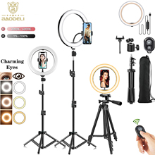 Light Photography Tripod Phone-Stand-Holder Dimmable-Lamp Makeup Selfie-Ring Circle LED