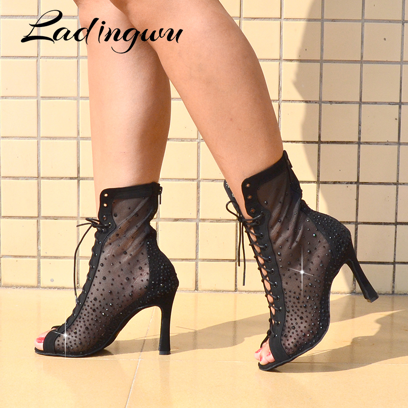 Ladingwu Latest Latin Dance Boots Woman Mesh Hot Rhinestone Dance Shoes Salsa Ladys Black Suede Ballroom Dancing Shoes