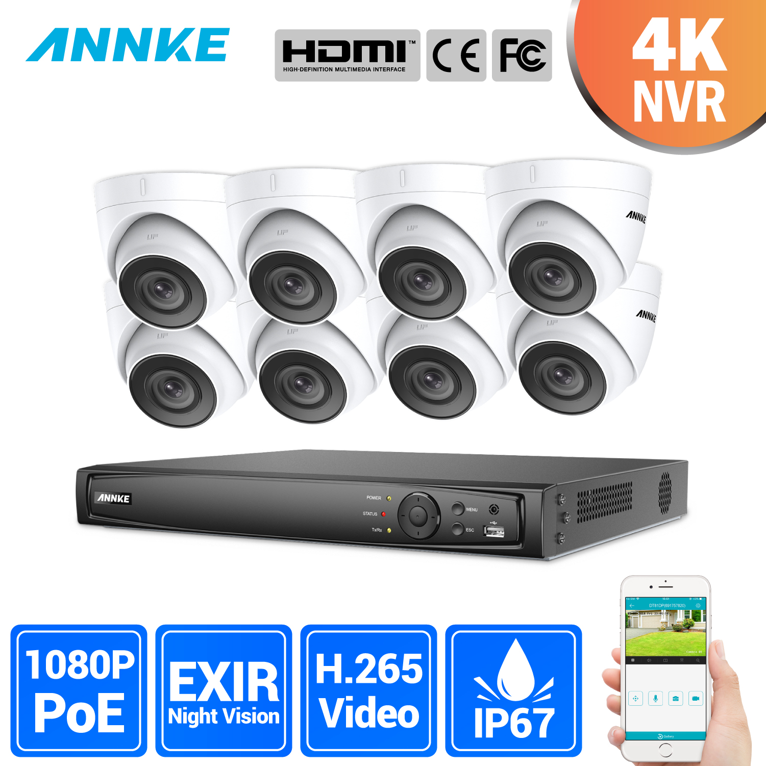 ANNKE 8CH 2MP Ultra HD POE Network Video Security System 8MP H.265 NVR With 8X 2MP 30m Night Vision Weatherproof IP CCTV Camera