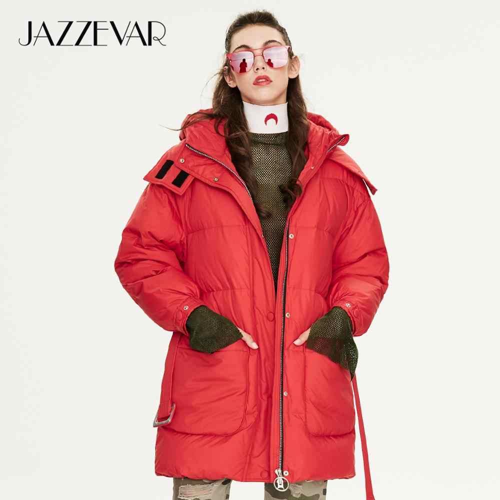 JAZZEVAR 2019 Зима Новое поступление женский пуховик топ красного цвета с поясом модный стиль зимний короткий пуховик для женщин K9043