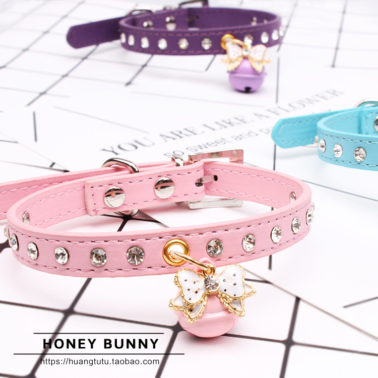 Pet Collar Supplies Dogs And Cats Bell Bow Towable Pu Diamond Collar