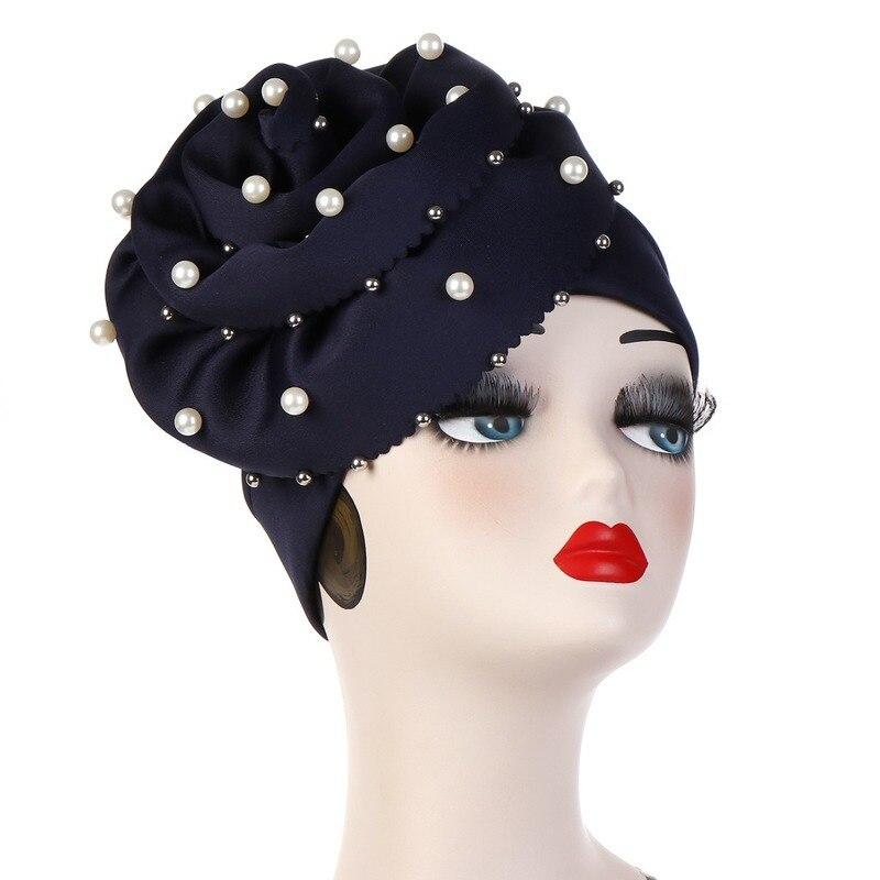 Europeu e americano venda quente novo tam-shanter grande flor prego pérola muçulmano toque cor sólida grande flor chapéu ponto hijab
