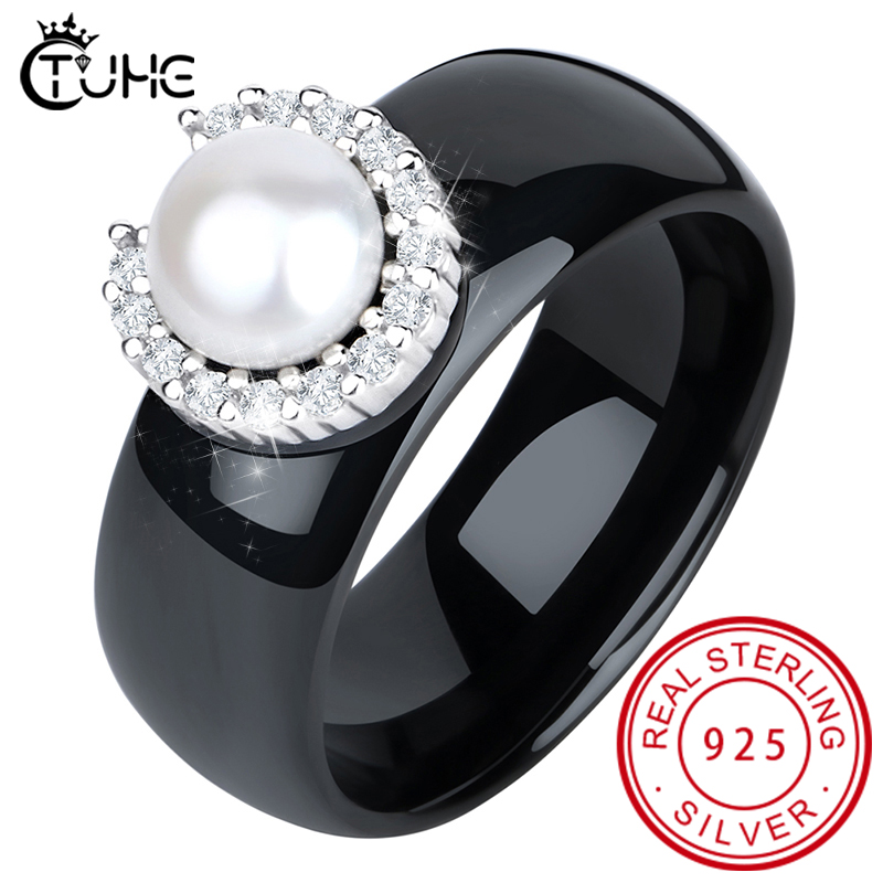S925 Sterling Silver Rings For Women  Real Pearl Ring Gemstone Ceramic Romantic Gift Engagement Jewelry
