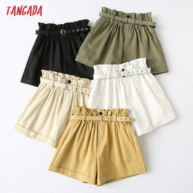 Tangada Women Elegant Solid High Waist Shorts with Belt Pockets Female Retro Basic Casual Shorts Pantalones YU24 1