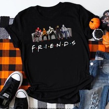 Friends Horror Movie Halloween Shirt Women 2019 Tshirt Womens Gothic Print O-Neck Harajuku GraphicTees