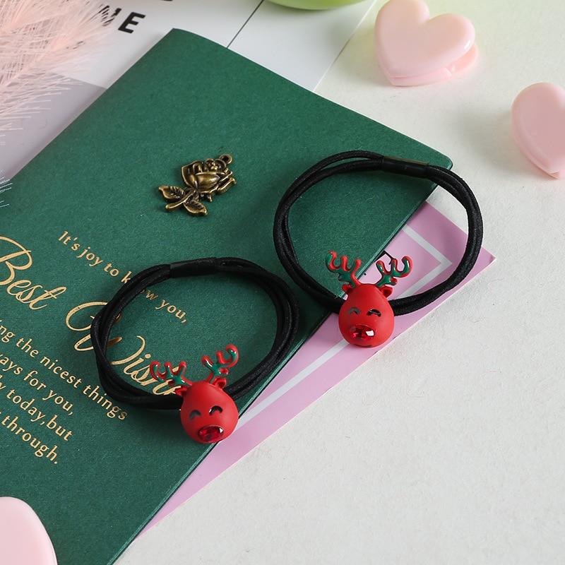 5pcs Korean Metal Paint Christmas Sika Deer Cartoon Xmas Hair Rope Fashion Hair Ring Ball Head Rope G1115