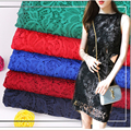 Green Lace Fabric Water-soluble Hollow Flower Clothing Embroidered Fabrics Dress Skirt Brocade By Half Meter for Sewing Summer