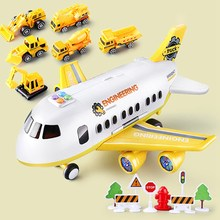 Music Story Simulation Track Inertia Children's Toy Aircraft Large Size Passenger Plane Kids Airliner Yellow(China)