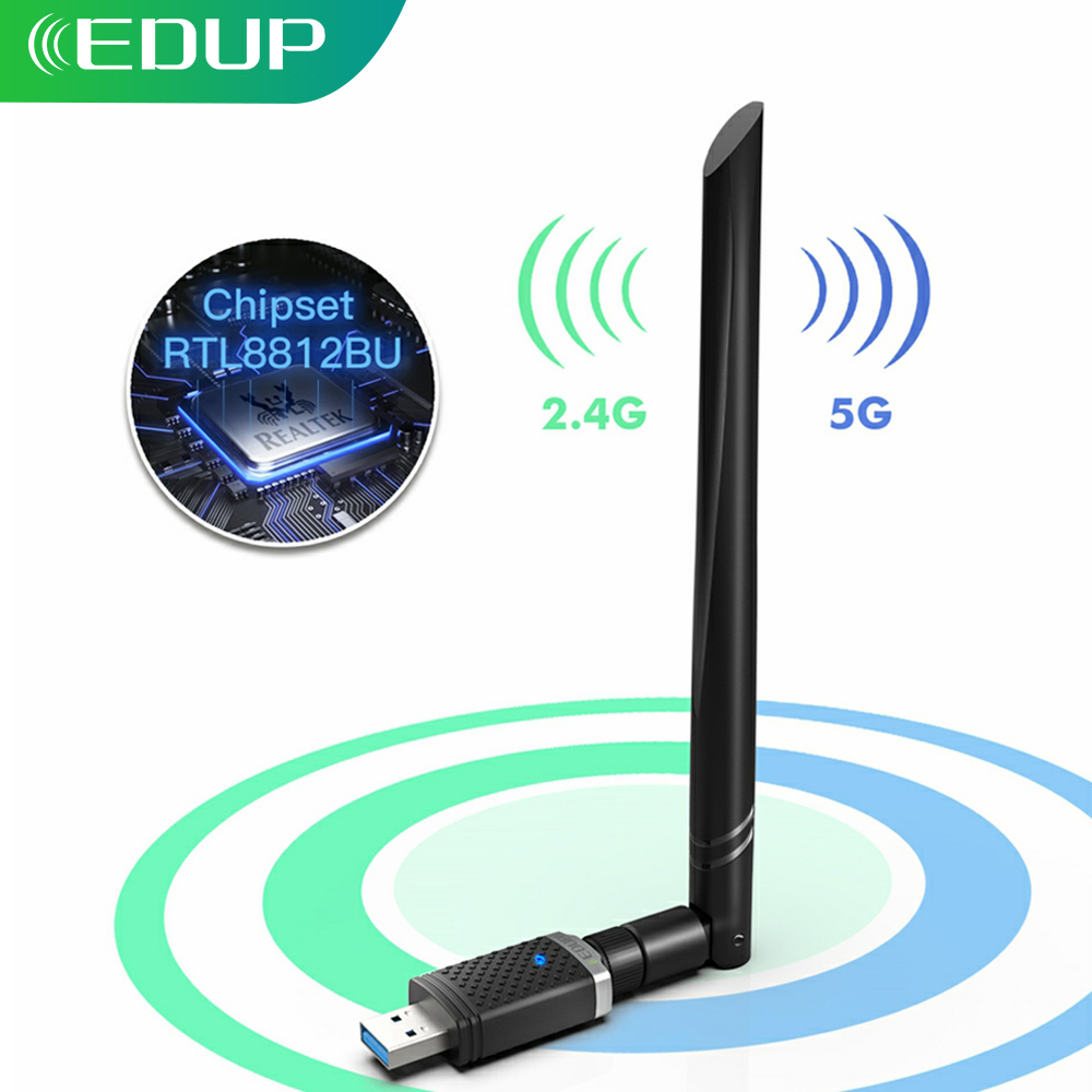 EDUP 1300Mbps USB Wifi Adapter 5GHz 2 4GHz Wirelss RTL8812BU Network Card with 5dBi Antenna USB Wi-Fi Dongle For PC Windows Mac