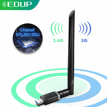 EDUP 1300Mbps USB Wifi Adapter 5GHz/2.4GHz Wirelss RTL8812BU Network Card with 5dBi Antenna USB Wi-Fi Dongle For PC Windows Mac