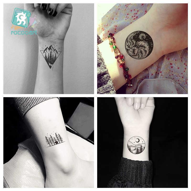 Wodoodporna tymczasowa naklejka tatuaż słońce księżyc góry wzgórza drzewa Tatto Flash Tatoo Sunrise fałszywe tatuaże dla dzieci mężczyzn kobiet