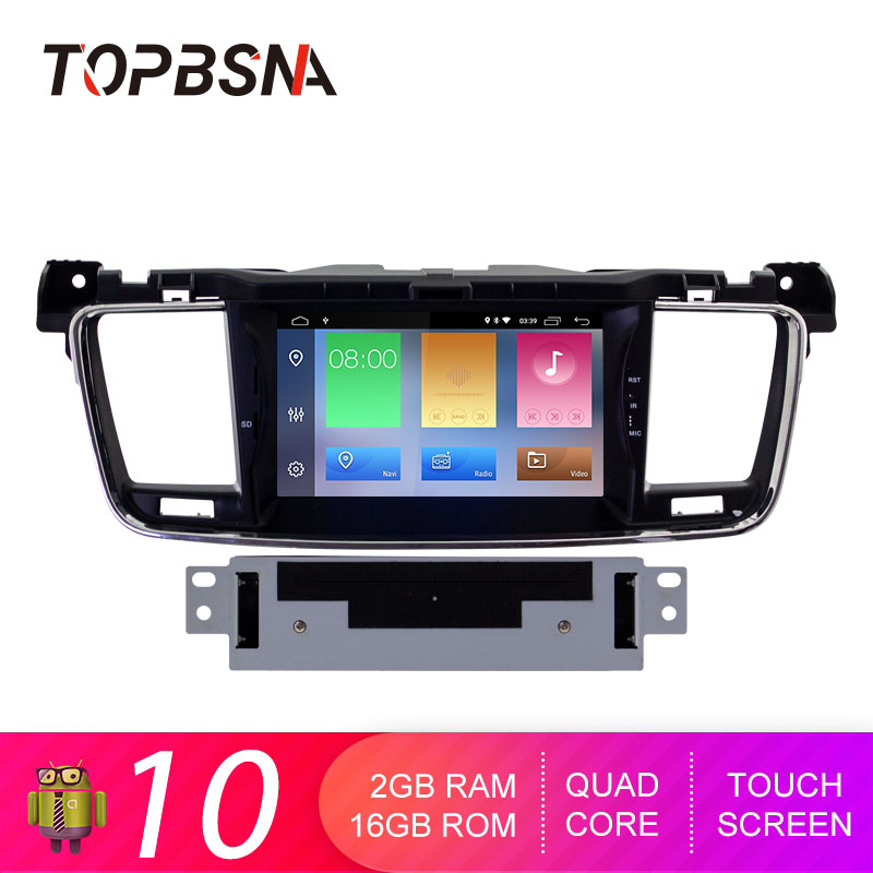 TOPBSNA <font><b>Android</b></font> 10 Car DVD Player For <font><b>PEUGEOT</b></font> <font><b>508</b></font> 2010-2017 <font><b>GPS</b></font> navigation multimedia tape recorder 1 din Car radio WIFI Stereo image
