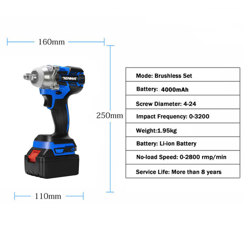 Image 2 - TENWA  21V Impact Wrench Brushless Cordless Electric Wrench Power Tool 320N.m Torque Rechargeable Extra Battery Avaliable-in Electric Wrenches from Tools on