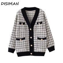 DISIMAN women winter clothes black plaid loose plus size cardigan high quality v neck sweater womens knitted jacket coats female