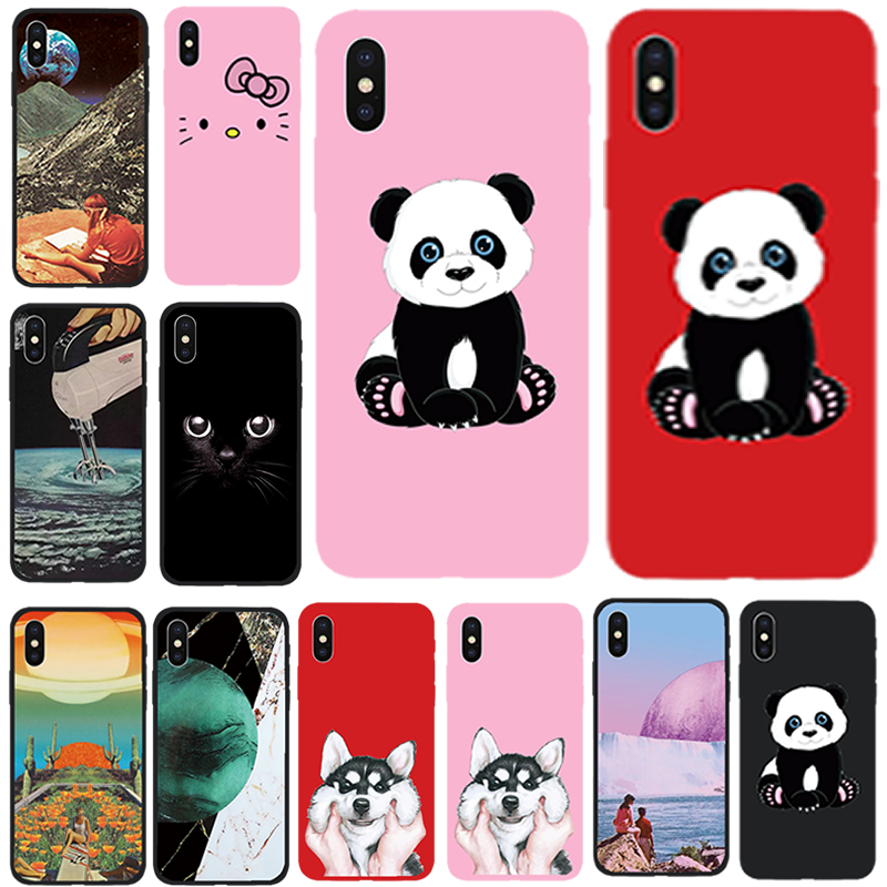 赤、ピンク、黒用ソフト Tpu iphone 7 8 Apple iphone 5 5s 、 se 6 s 6 s 7 8 プラス xs max x 10 xr バッグ Funda