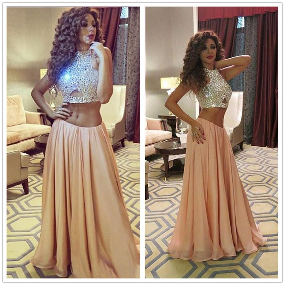High Quality   Prom     Dress   Two Pieces Beading Sweetheart charming Special Occasion   Dresses   High Neck Chiffon Crystal Sequins