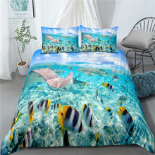 Bedding, 3pcs bedding, 3D printed marine animal, duvet cover, sea, beach, marine bedding, marine animal, bedding