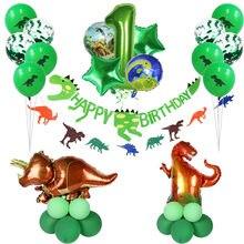 Juegos de globos de cumpleaños de dinosaurio, decoración de fiesta de cumpleaños, Globo Verde rugido para decoración del hogar, suministros de Baby Shower