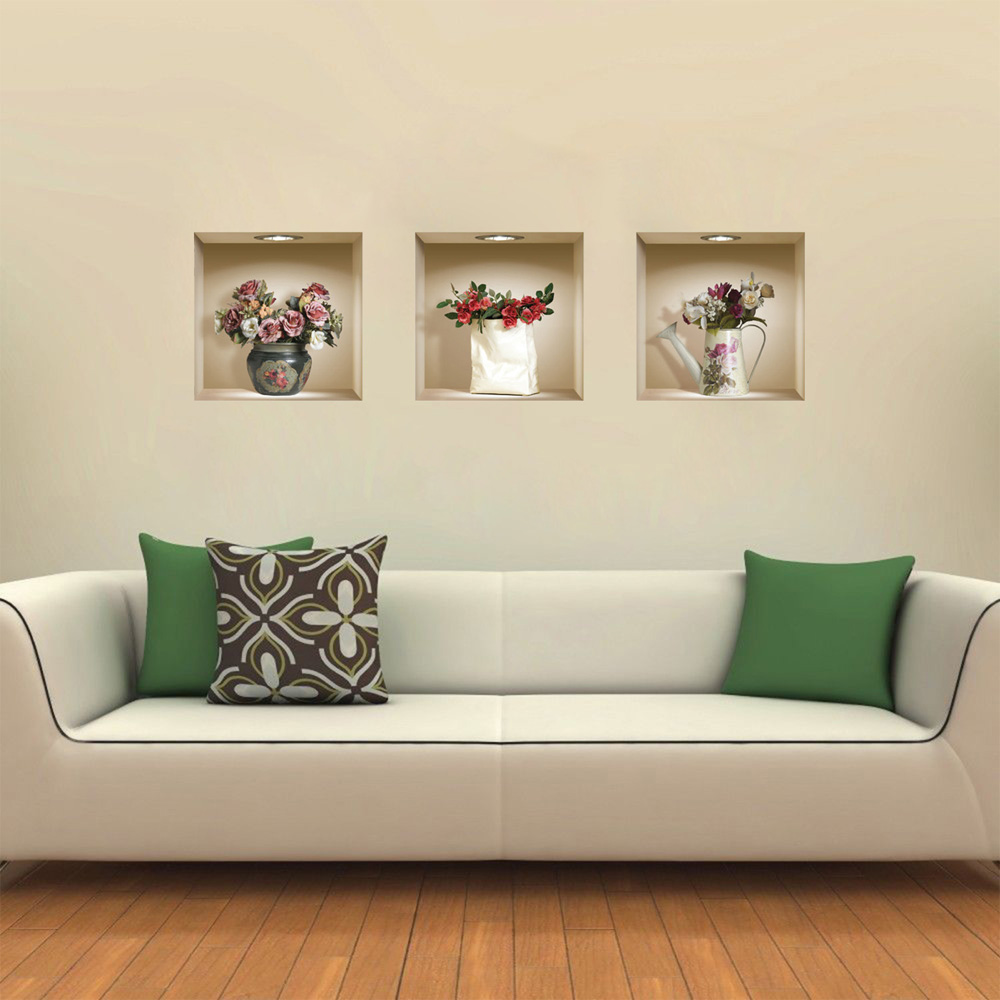 Набор из 3 волшебных 3D вазы цветы съемные настенные художественные наклейки DIY для гостиной спальни диван домашний декор