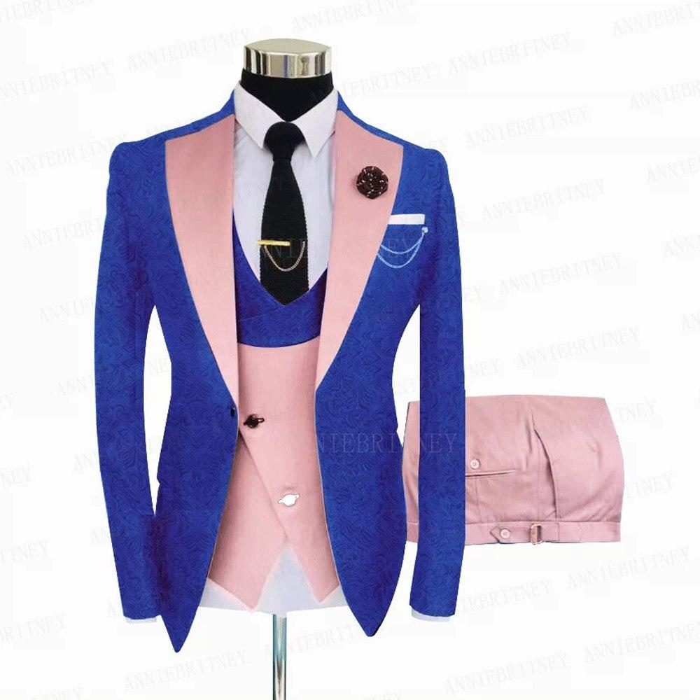 Royal Blue Men Suit 3 Pieces Tailored Best Man Groom Wedding Tuxedo Slim Fit Jacquard Blazer Suit Jacket pink Vest Pants S