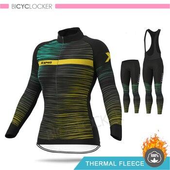 Ropa de Ciclismo para mujer, conjuntos de Jersey de manga larga, forro...