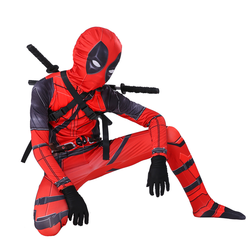Image 4 - Kids Deadpool Costume Boys cosplay Deadpool Superhero Costumes mask suit Jumpsuit Bodysuit Halloween party Costume For boy girls