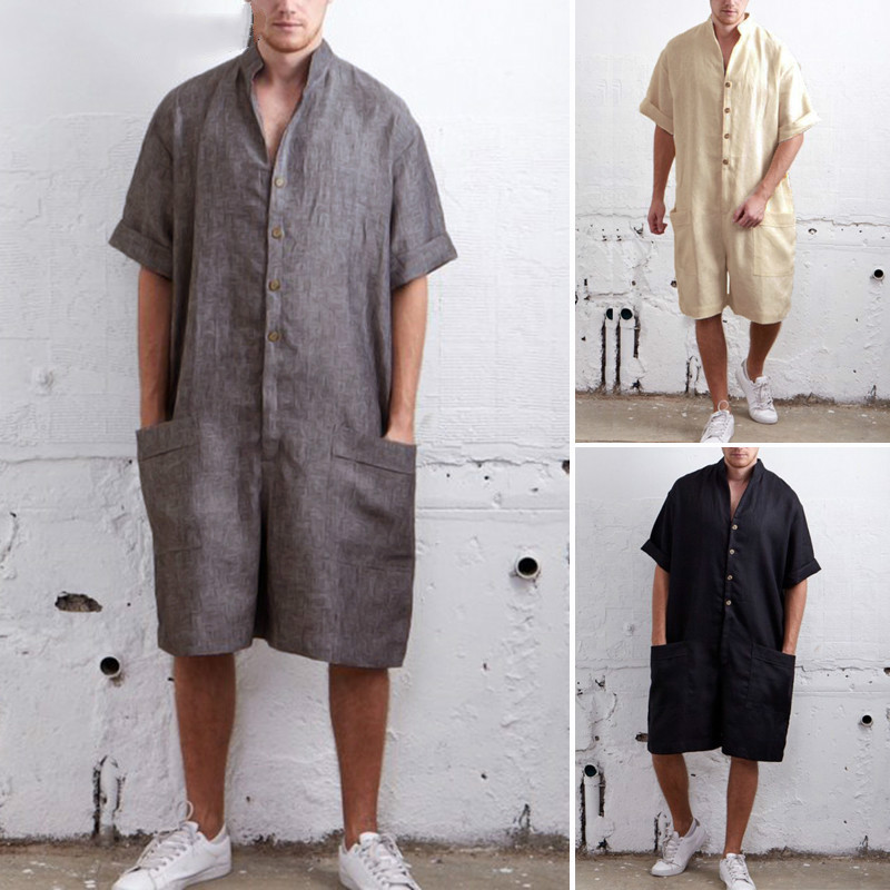 Summer Loose Men Rompers Cotton Half Sleeve Button Pants Vintage Casual Solid Mens Clothing Cargo Overalls Jumpsuit Trousers New