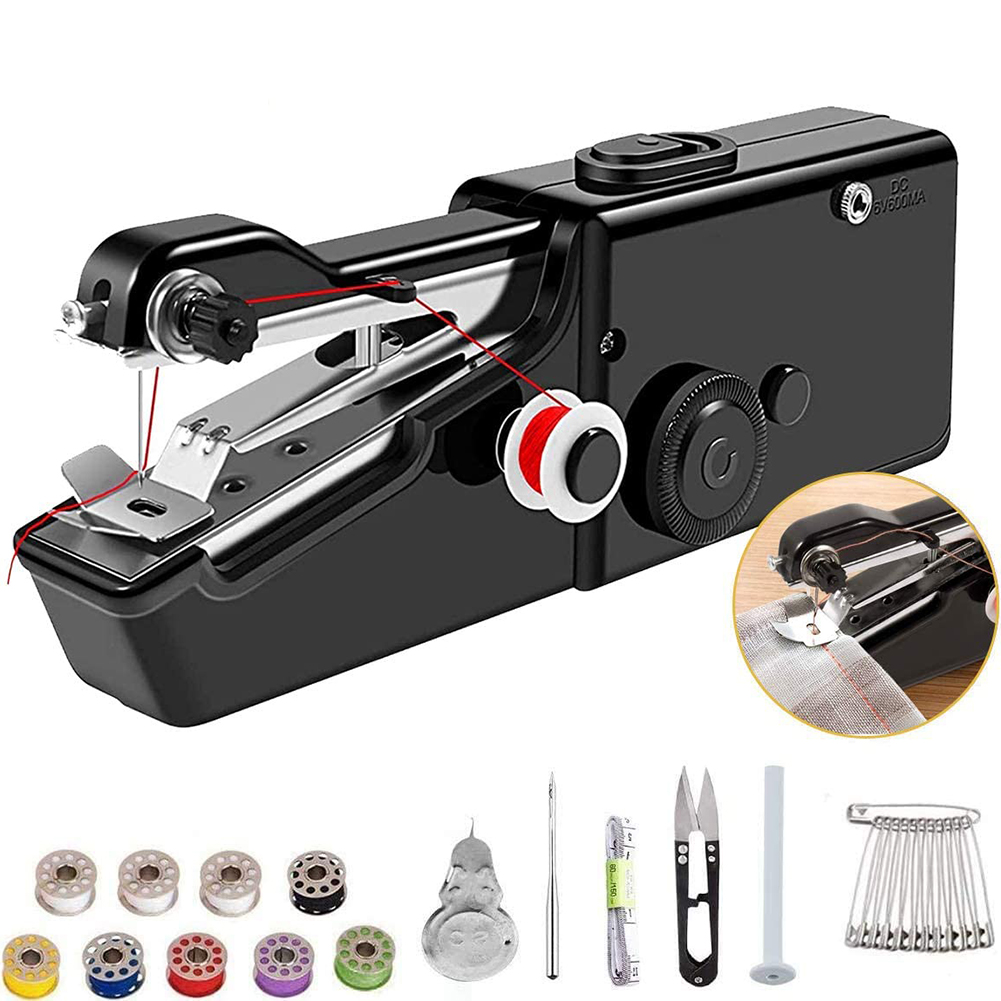 Máquina de costura elétrica handheld mini máquina de costura portátil doméstico sem fio ferramenta ponto elétrico para reparos rápidos diy casa