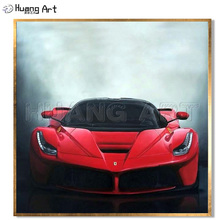 China Master Artist Hand-Painted Realist Super Ferrari Sports Car Oil Painting on Canvas for Decor Red Cool Wall