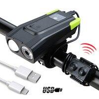 2000/4000mAh Fahrrad Licht mit Horn USB Aufladbare 800 Lumen LED Licht Smart Induktion Fahrrad Lampe Zyklus Taschenlampe