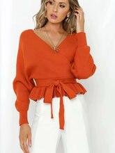 Женский свитер с v образным вырезом длинным рукавом поясом и