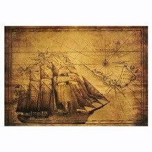 Древний парусник морской линии плакат из крафт-бумаги в ретро-стиле, ручной стержень, для кафе, для дома Ресторан украшения