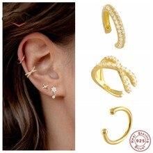 925 Sterling Silber Ohr Manschette Für Frauen 1 stücke Charming Zirkon Clip Auf Ohrringe Gold earcuff Ohne Piercing Ohrringe Schmuck