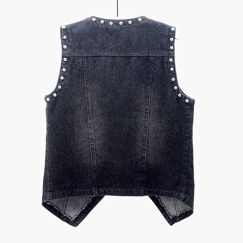 vintage preto azul rebite denim colete feminino 01