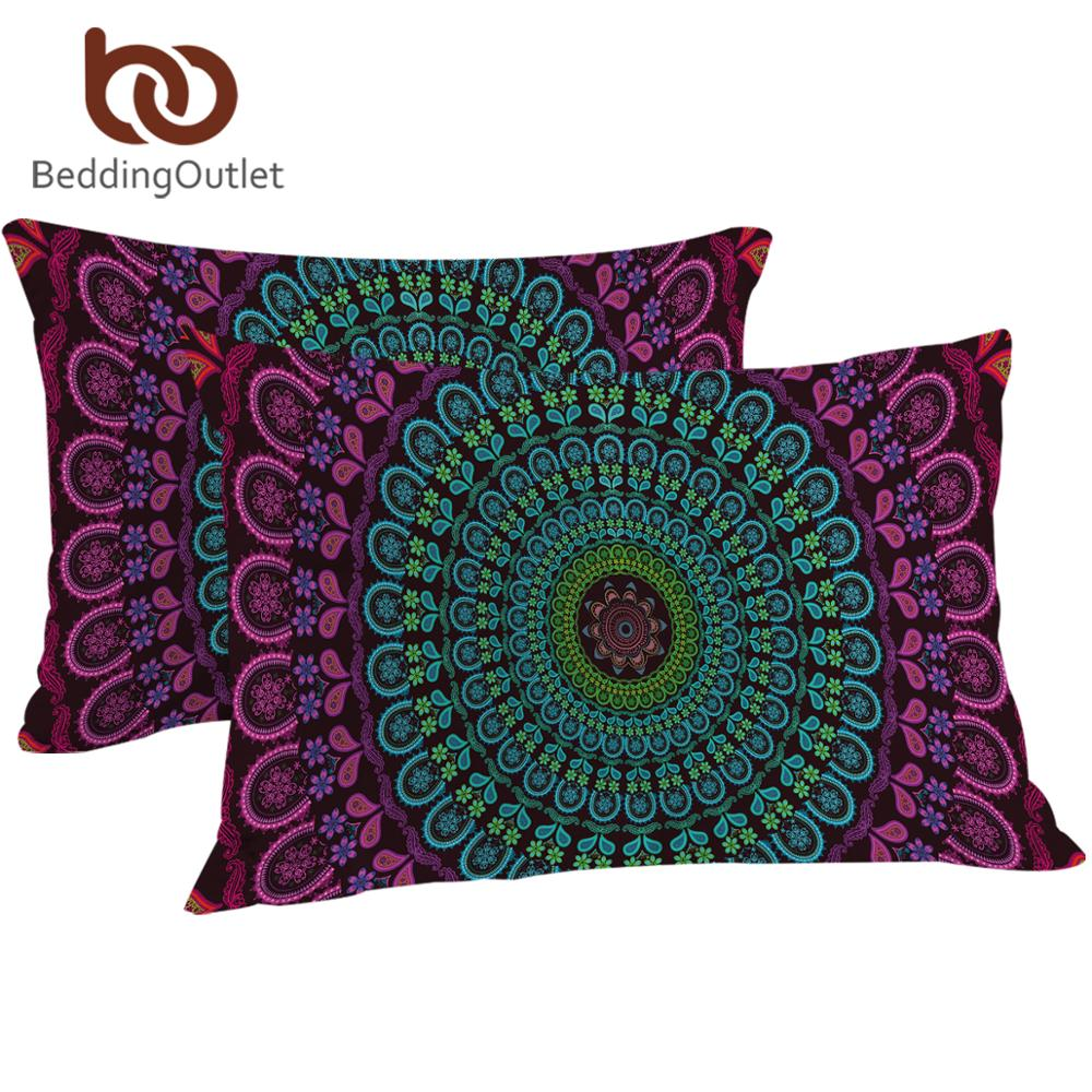 BeddingOutlet Bohemia <font><b>Pillow</b></font> <font><b>Case</b></font> Posture Million Printed Pillowcase Boho Floral <font><b>Pillow</b></font> Cover Bedclothes 2Pcs 50x75cm <font><b>50x90cm</b></font> image